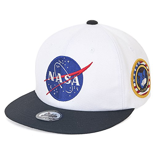 - ililily NASA Meatball Logo Embroidery Baseball Cap Apollo 1 Patch Trucker Hat (Medium, White Flat)