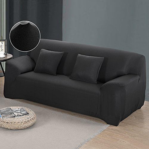 Cherry Juilt Stretch Sofa Cover 1-Piece Spandex Non-Slip Couch Slipcover 3 Seater Polyester Furniture Protector Black