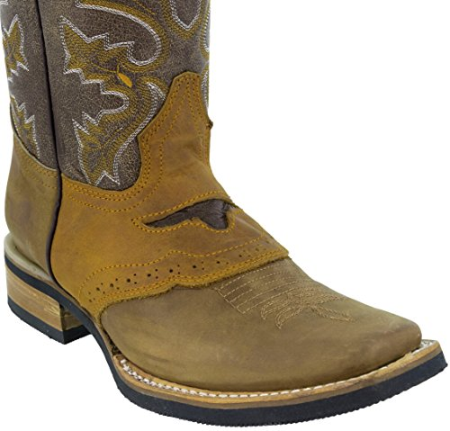 Texas Legacy Mens Sand Leather Cowboy Sella Stile Gomma Suola Rodeo Stivali Sabbia