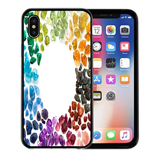 Semtomn Phone Case for Apple iPhone Xs case,Color Rich Variety of Colorful Natural Gems Precious Semi Tourmaline for iPhone X Case,Rubber Border Protective Case,Black