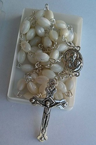 - Mother of Pearl Rosary Cross with Mary Medal and Holy Soil From Jerusalem
