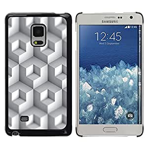 Blanco rectángulos coloreados - Metal de aluminio y de plástico duro Caja del teléfono - Negro - Samsung Galaxy Mega 5.8