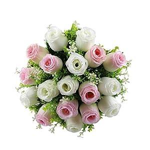 NXDA Artificial Flowers, 1 Bunch of Rose Fake Silk Flowers Bouquet for Home Floor Garden Office Wedding Decor, 18 Flowers (F) 58