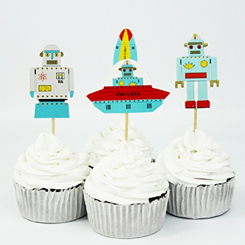 Various-Fun-Designs-of-Farm-AnimalsEaster-RabbitBasketballFootballRobotsNauticalTrucks-Theme-Cupcake-Toppers-for-BirthdayChristmas-EventsParty-Set-of-24-Robots