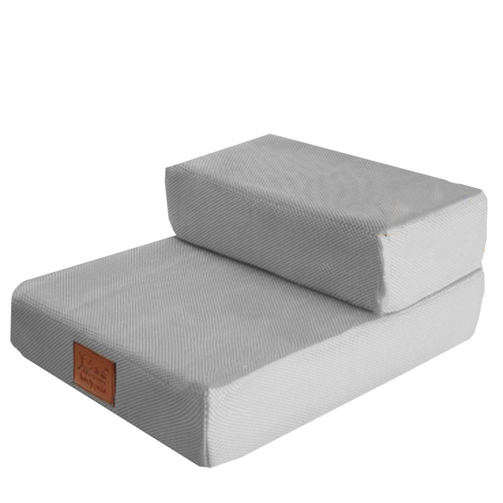 Gw-kennel Grey Cat Stairs for Couch 2 Step, Small Dogs Pet Step Stool for Bed Sofa, 48×40×20cm