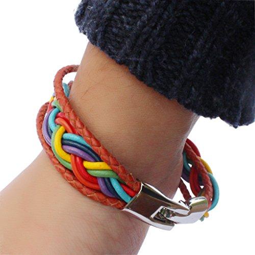 Stunning Design (Genuine Leather Rainbow Freedom Braid Bracelet with Stainless Clasp 8