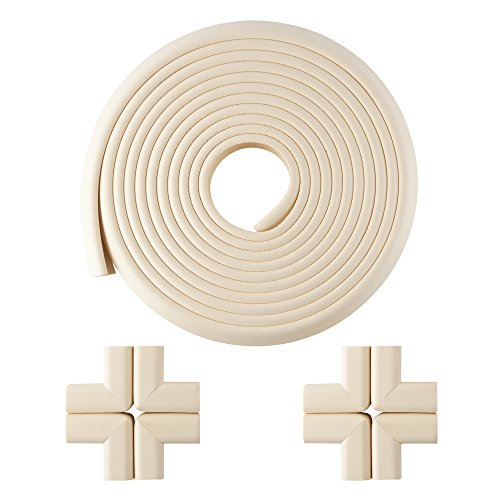 Furniture Edge and Corner Guards | 20.4ft Protective Foam Cushion | 18ft Bumper 8 Adhesive Childsafe Corners | Baby Child Proofing Set NonToxic and Safe For Table, Fireplace, Countertop | (Safe Table)
