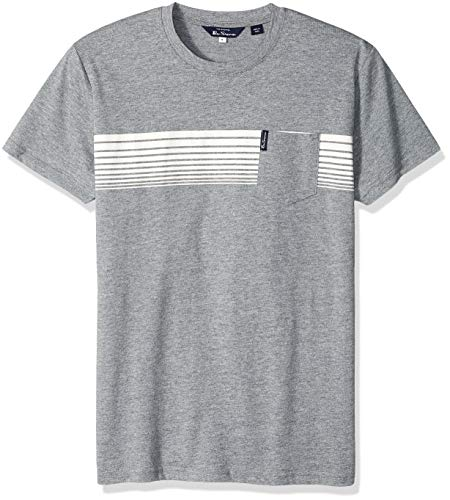 Ben Sherman Men's Chest Stripes Styled TEE, Grey, XXL