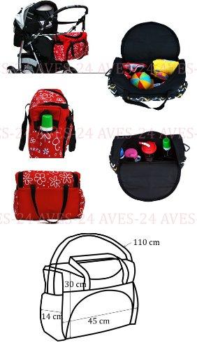 BABYLUX Wickeltasche Kinderwagentasche Schwarz + Rote Flowers #20 mit Wickelunterlage