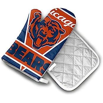 AISDHAJKSD Chicago Bears Premium Terylene/Nylon Oven Mitts and Pot Mat,Pot Mat/Hot Pads, Heat Resistant Gloves BBQ Kitchen