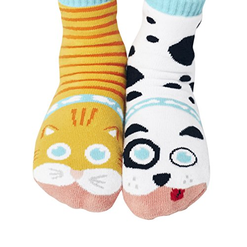 Cat & Dog Backyard Pet Animal Pals Mismatched Silly Cozy Socks for Kids Boys Girls Toddlers with Nonskid No Slip Grips (Age 1-3)