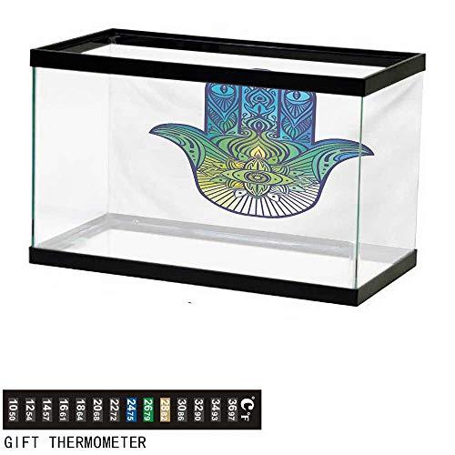 wwwhsl Aquarium Background,Evil Eye,Ethnic Hand of Fatima Symbol Vibrant Colors Arabic Ancient Culture Oriental,Blue Green Yellow Fish Tank Backdrop 30
