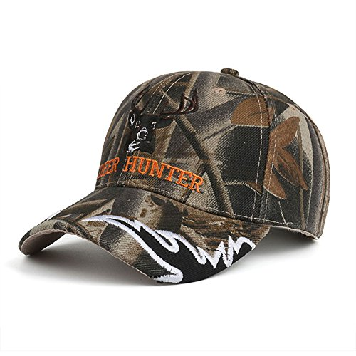 Camouflage Baseball Cap Deer Hunter Velcro Strap Adjustable Camo Hat for Men (Youth Camo Stocking Cap)