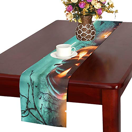 AIKENING Halloween Pumpkin On Wooden Plank with Candles in Table Runner, Kitchen Dining Table Runner 16 X 72 Inch for Dinner Parties, Events, Decor