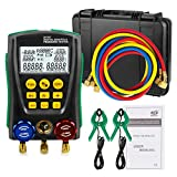 BELEY Refrigeration Digital Manifold HVAC System Gauge Set with Temperature Clips and Pipes Fit for R410a R424A etc 89 Kinds of Refrigerants