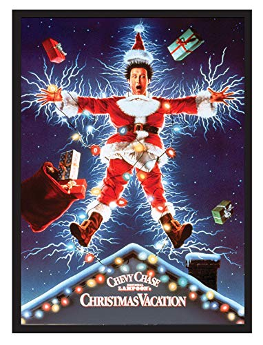 Christmas Vacation Chevy Chase Movie Poster 22x34. Framed on a Black Frame. Made in ()