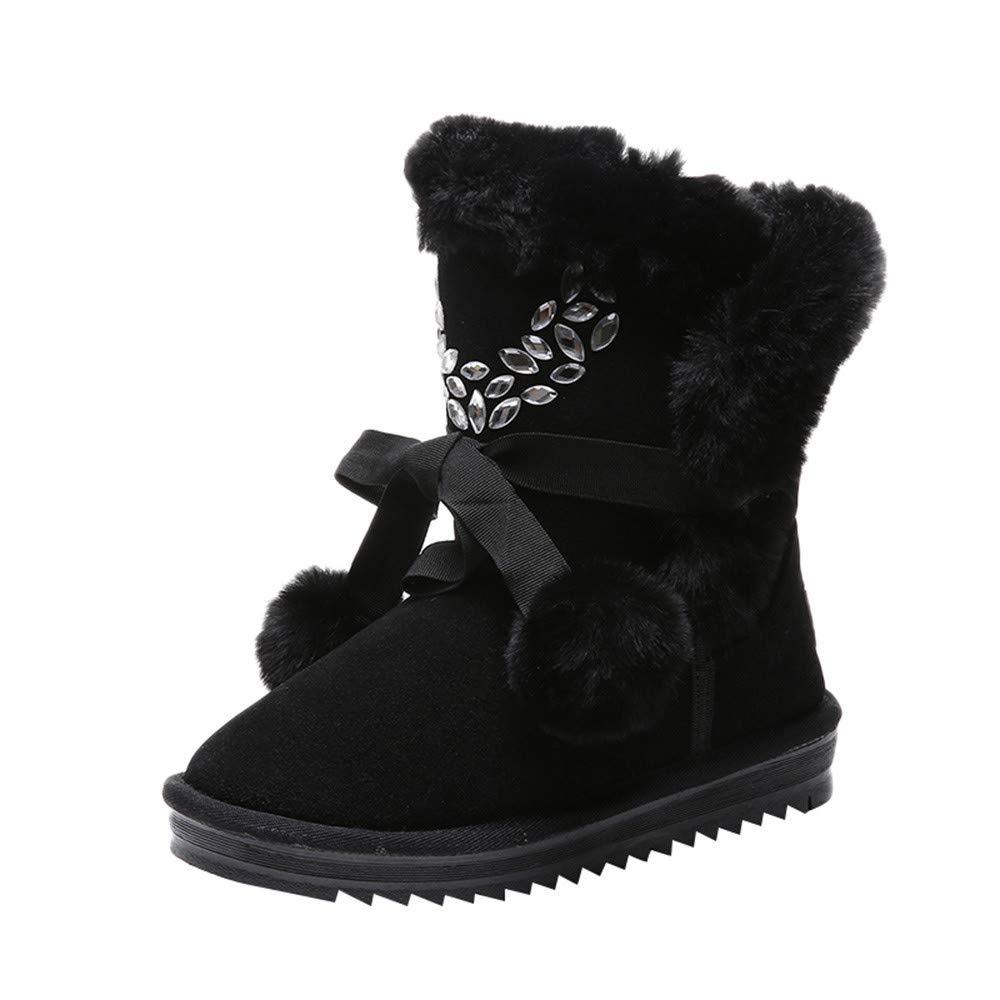 Damen Winterschuhe Schneestiefel, Sunday Frauen Mä dchen Winter Stiefel Dick Plü sch Schlupfstiefel Warme Kurzschaft Stiefel Mode Snow Boots 34-39