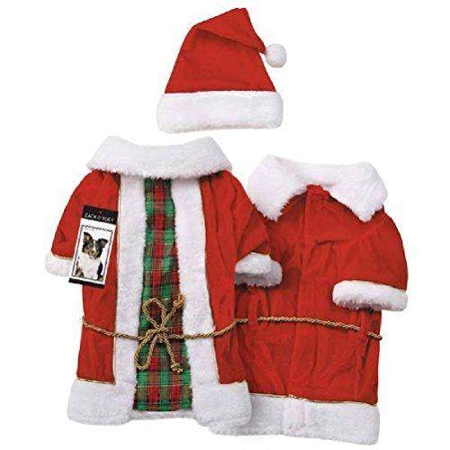 Vintage Santa Claus Dog Costume Matching Coat Hat Sash Red Or Blue by Defonia Petsupplies