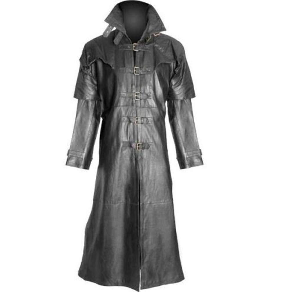Mens Retro Black Leather Fashion Vintage Style Trench Long Coat Black Long Stylish Coat by F_Gotal Mens blazer