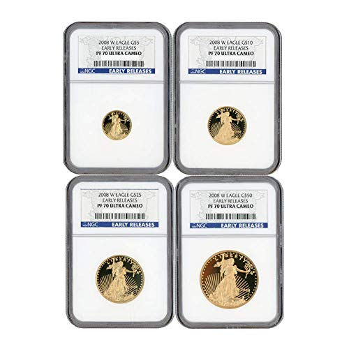 2008 W Gold Eagle Set of 4 NGC PF70UCAM Early Release Ultra Cameo Proofs $50 $25 $10 $5 ()