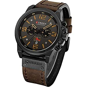 Military Watches for Men Men's Leather Strap Analog Quartz Wristwatch Fashion Sport Watch for Men Chronograph Date Brown Black CAOWTAN 28