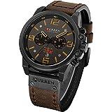 Military Watches for Men Men's Leather Strap Analog Quartz Wristwatch Fashion Sport Watch