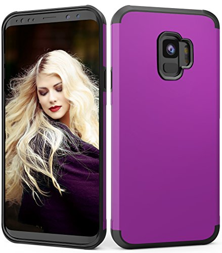 Galaxy S9 Case,ADCOOG Dual Layer Hybrid Sturdy Anti-Shock Cover High Impact Resistant Protective Case for Samsung Galaxy S9 2018 Purple