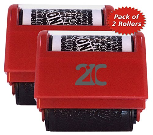 21C Identity Theft Protection Roller Stamp  2 Pack  Id Security Stamp 1 5 Inch Wide Red