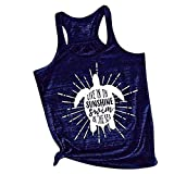 Him Tak New Women's Vest Letters,SUNSHINE, Cartoon Print Sleeveless Shirt Loose Wild Casual Sports t-Shirt