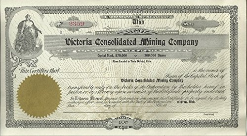 (Utah - Victoria Consolidated Mining Company - Stock Certificate - 100 Shares - Like New Unused)