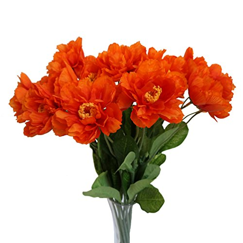 Htmeing 10 pcs 2 Heads Artificial Poppy Flowers Silk Coquelicot Rose Flowers Wedding Home Decoration (Orange)