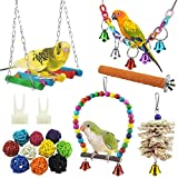 MQUPIN Bird Swing Toys,17 Pcs Bird Parrot Swing Chewing Toys- Hanging Bell Birds Cage Toys Suitable for Small Parakeets,Conures,Finches,Budgie,Macaws, Parrots, Love Birds