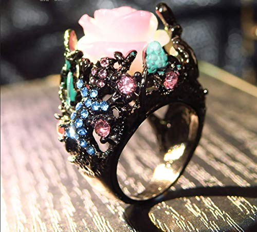 potato001 Women Peony Flower Lizard Pattern Rhinestone Inlaid Ring Band Party Jewelry 9