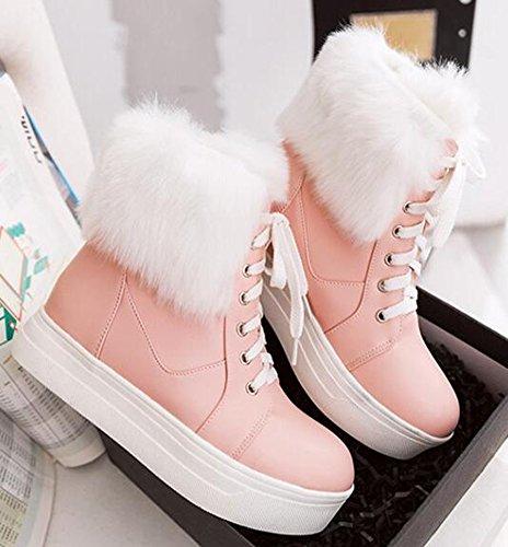 IDIFU Womens Warm Platform Mid Wedge Heels Fluffy Fur Lace Up Ankle High Snow Boots Pink iqaky6b