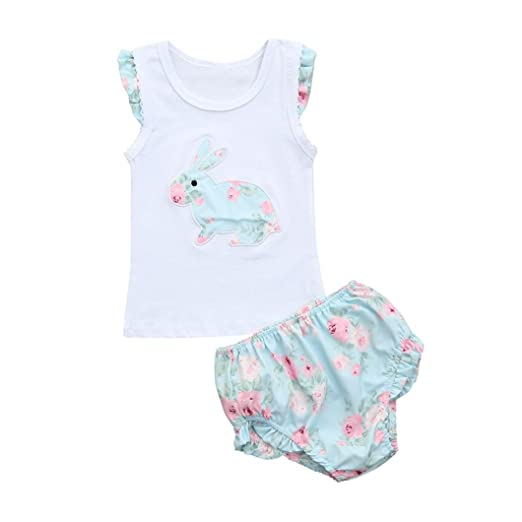 2b05540b97e7 Euone® Toddler Girl Rabbit Vest Tops White Shirt Infant Kids Floral Shorts  Outfit (0