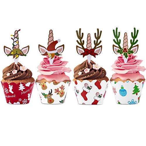 Merry Christmas Cupcake Topper and Wrappers Kit(24pcs)X-Mas Cake  Wrappers Toppers, Christmas Birthday Baby Shower and Wedding Party Dessert Decorations