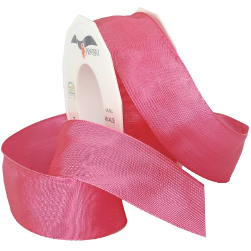 Morex Ribbon French Wired Lyon Ribbon, 1-1/2-Inch by 27-Yard Spool, Hot Pink