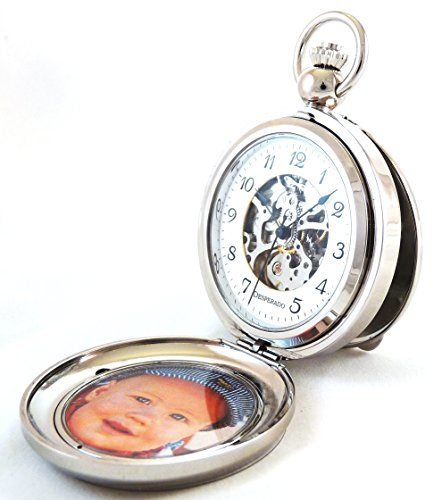 Desperado ''Seaside'' Chrome Photo Insert Picture Frame Pocket Watch Built in Stand by Desperado
