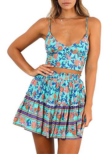 BTFBM Women Summer Floral Short Dress V Neck Straps Sleeveless Crop Top with High Waist Ruffle Skirt Two Piece Outfit (Green, X-Large)