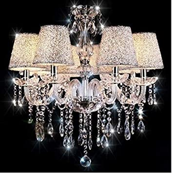 Chandeliers, Crystal Glass Chandelier Pendant Ceiling Lighting Fixture with Silver Lampshade for Dining Room, Living Room, Bedroom and Study Room Need 6 Pcs E12 Led Bulbs Not Included