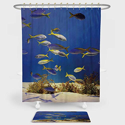 Ocean Shower Curtain And Floor Mat Combination Set Clear Underwater Sea World Marine Plants and Tropical Fish School For decoration and daily use Navy Blue Ivory and (Marina Nickel Shower Curtain)