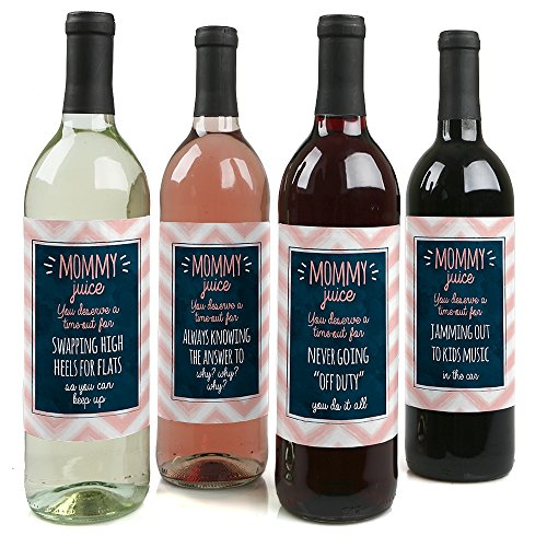 Mommy's Time-Out - Wine Bottle Label Gifts for Mom - Set of 4