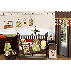 Sweet Jojo Designs Woodland Forest Animals Owl Deer Tree Unisex Nature Bedding 9pc Crib Set