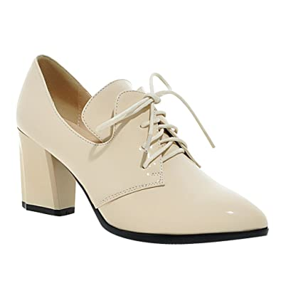 7823a116b0 Latasa Women's Patent Lace-up Pointed-Toe Chunky Heel Oxford Shoes (5,