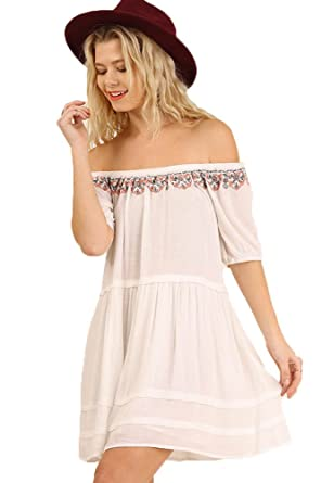 2a4d7dff52bd6d Umgee Women s Off Shoulder Embroidered Tunic at Amazon Women s ...