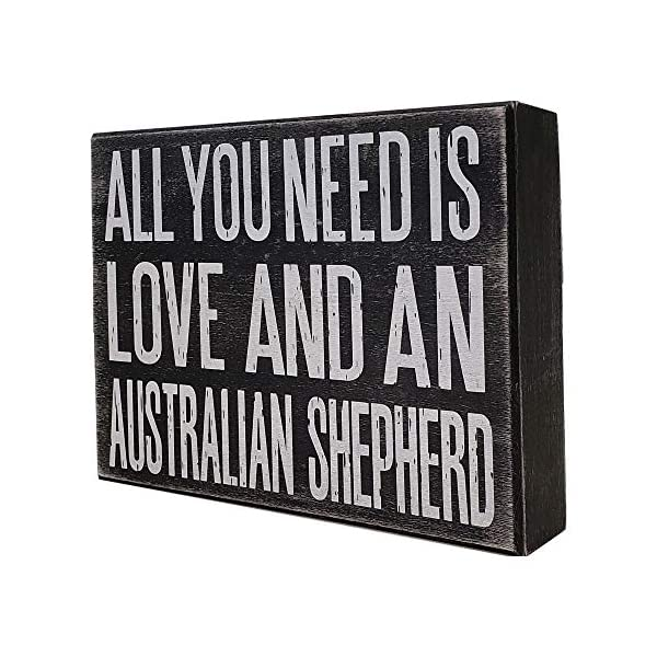 JennyGems All You Need is Love and an Australian Shepherd - Stand Up Wooden Box Sign - Australian Shepherd Home Decor - Aussie Sheperd Decorations and Accessories - Dog Artwork, Queensland, 4