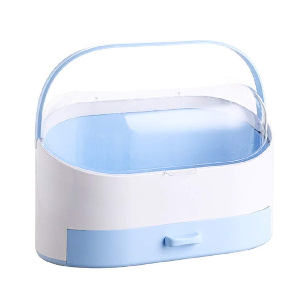 Drawer Storage Box Desktop Cosmetics Shelf Plastic Rotary Portable Dust Cover Flip Storage Rack (Color : B)