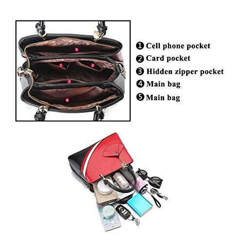 Spalla Mano Grande Lavoro Shopping Sacchetto Shopper Borse Exull Pink red Viaggio Pu 8013 Bag Tote A Pelle Per Capacità Donna Borsa Ufficio UxX7SqX0