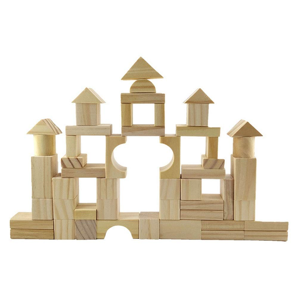 Beige Free size Building Blocks Kids Educational Toys 100 Pcs Wooden Building Blocks Set Developmental Toy For Kids And Toddlers Over 3 Years Old For Kids Toy Kids Wooden Building Blocks