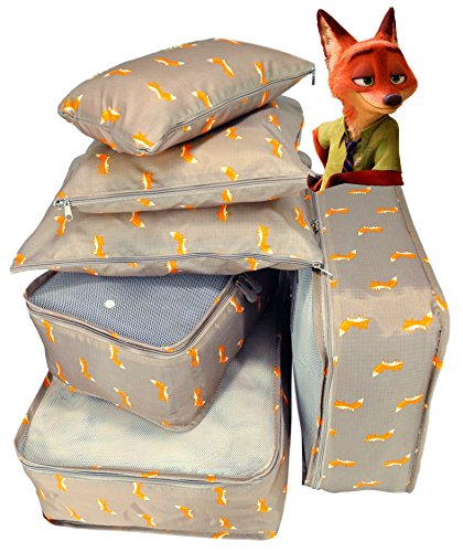 Packing Cubes 6pcs Backpack Organizers Set for Carry on Travel Bag Luggage Cube (Fox 6)